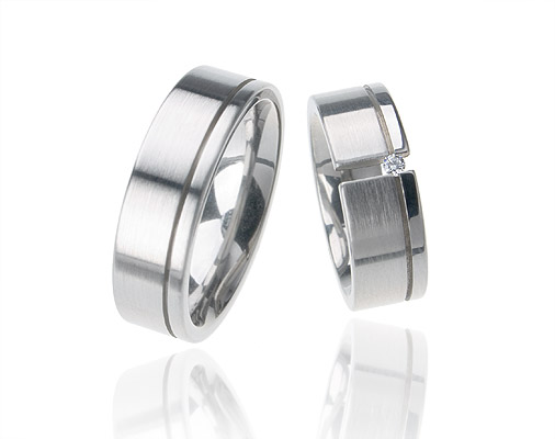 Snubní prsteny s diamantem z oceli OC1011B