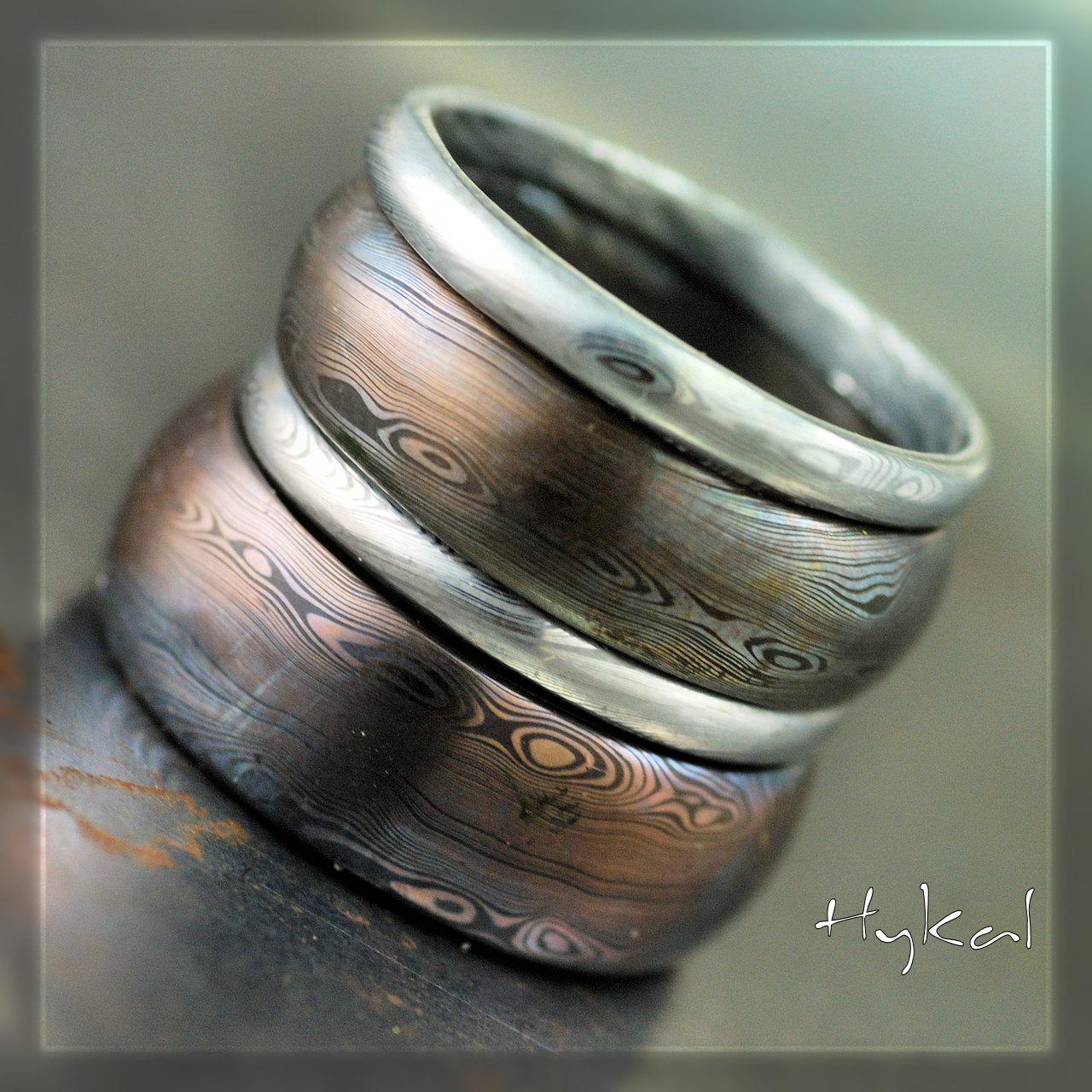 Sada kovaných snubních prstenů nerez ocel damasteel (Sada kovaných snubních prstenů nerez ocel damasteel)