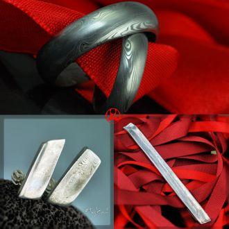 Svatební set - snubní prsteny, naušnice a spona na kravatu (Svatební set - snubní prsteny, naušnice a spona na kravatu)