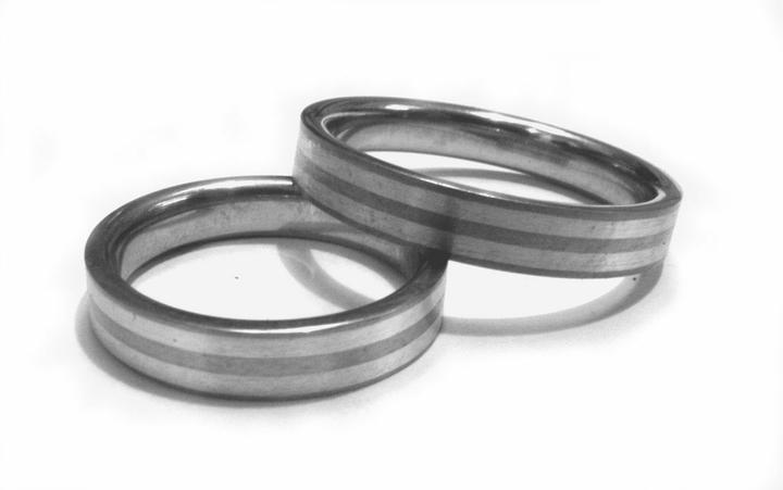 Snubní prsteny Ocel+Stříbro OKU-720 (Snubní prsteny Ocel+Stříbro OKU-720)