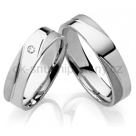 Snubní prsteny z chirurgické oceli s briliantem OC1013B