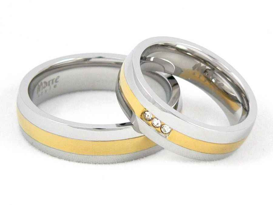 Snubní prsteny z chirurgické oceli 1 pár MAR001 (Snubní prsteny 1 pár MAR001)