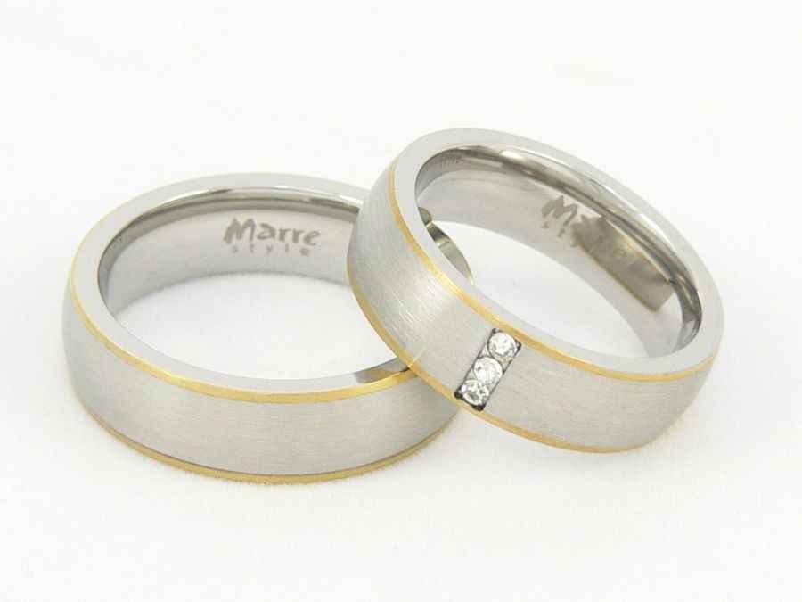 Snubní prsteny z chirurgické oceli 1 pár MAR002 (Snubní prsteny 1 pár MAR002)