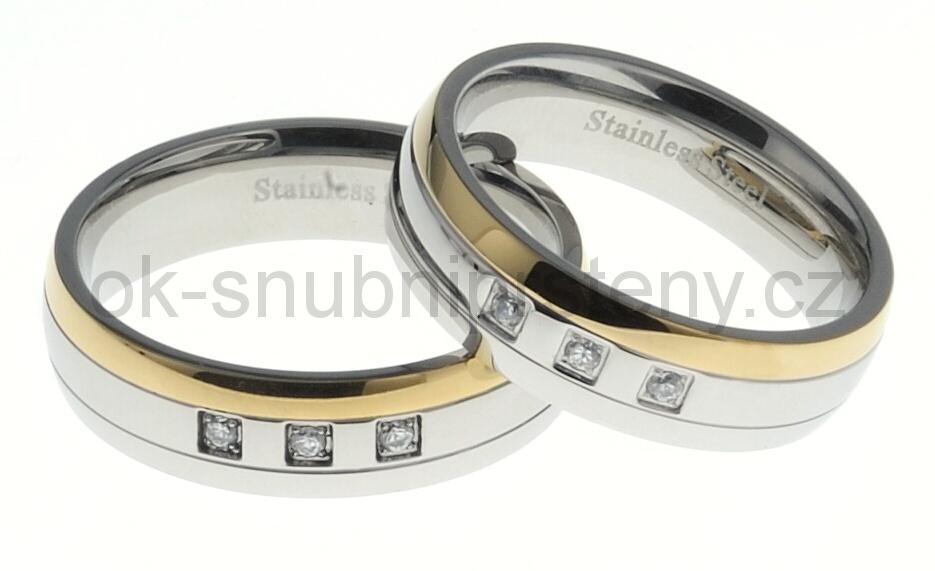 Snubní prsteny z chirurgické oceli 13520 (Snubní prsteny 13520)