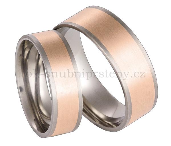 Snubní prsteny titanové se 14ct zlatem TRG55-6 (Snubní prsteny titanové se 14ct zlatem TRG55-6)