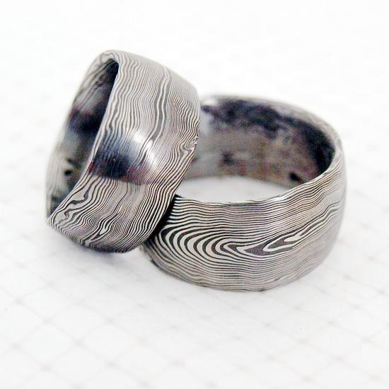 Snubní prsteny kovaná nerezová ocel damasteel DA-1004 (Snubní prsteny kovaná nerezová ocel damasteel DA-1004)