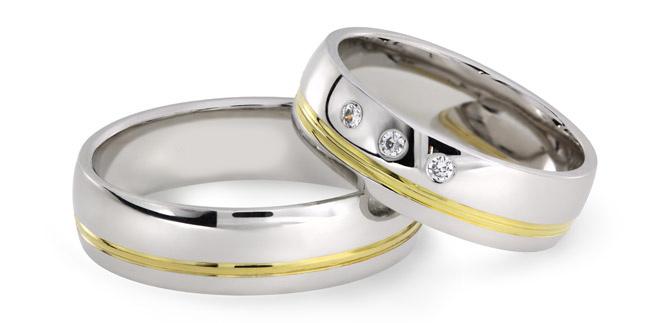 Kombinované snubní prsteny z chirurgické oceli se 14ct zlatem OZ1006 (Snubní prsteny OZ1006)
