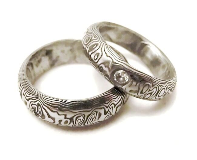 Snubní prsteny kovaná nerezová ocel damasteel DA-1013