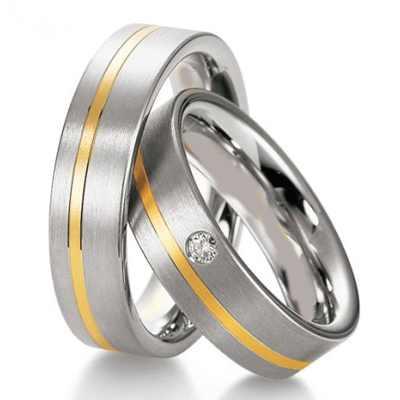 Kombinované snubní prsteny z chirurgické oceli OZ1010 (Snubní prsteny OZ1010)
