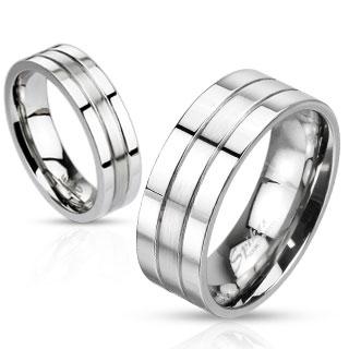 Levné snubní prsteny z chirurgické oceli R-M0023 (Snubní prsteny R-M0023)
