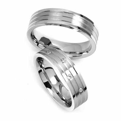 Ocelové snubní prsteny RRC2095 (Pár snubních prstenů z chirurgické oceli RRC2095)
