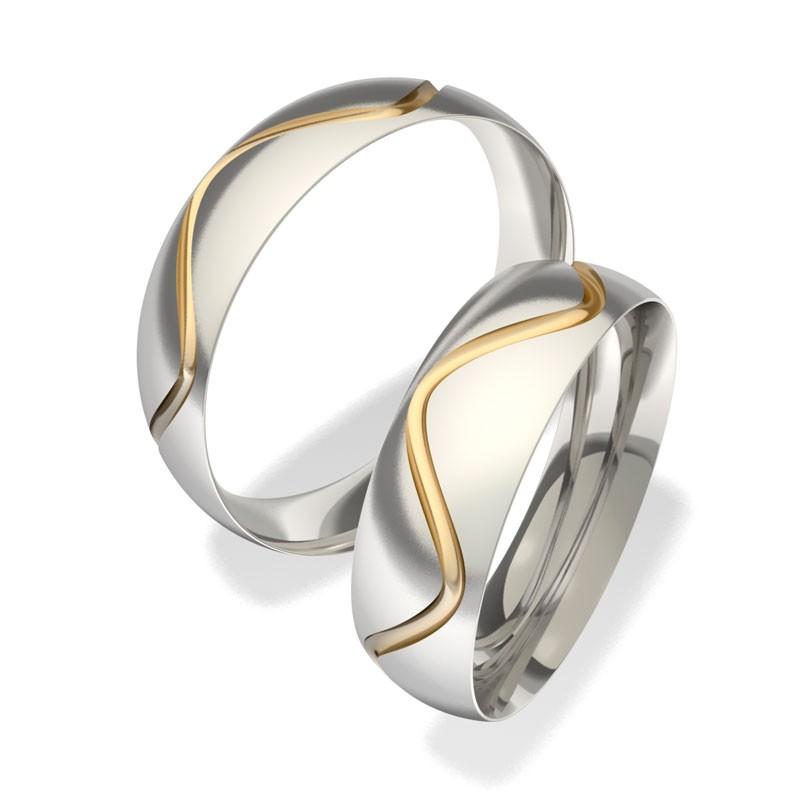 Kombinované snubní prsteny z chirurgické oceli se 14ct zlatem 7042 (Snubní prsteny 7042)