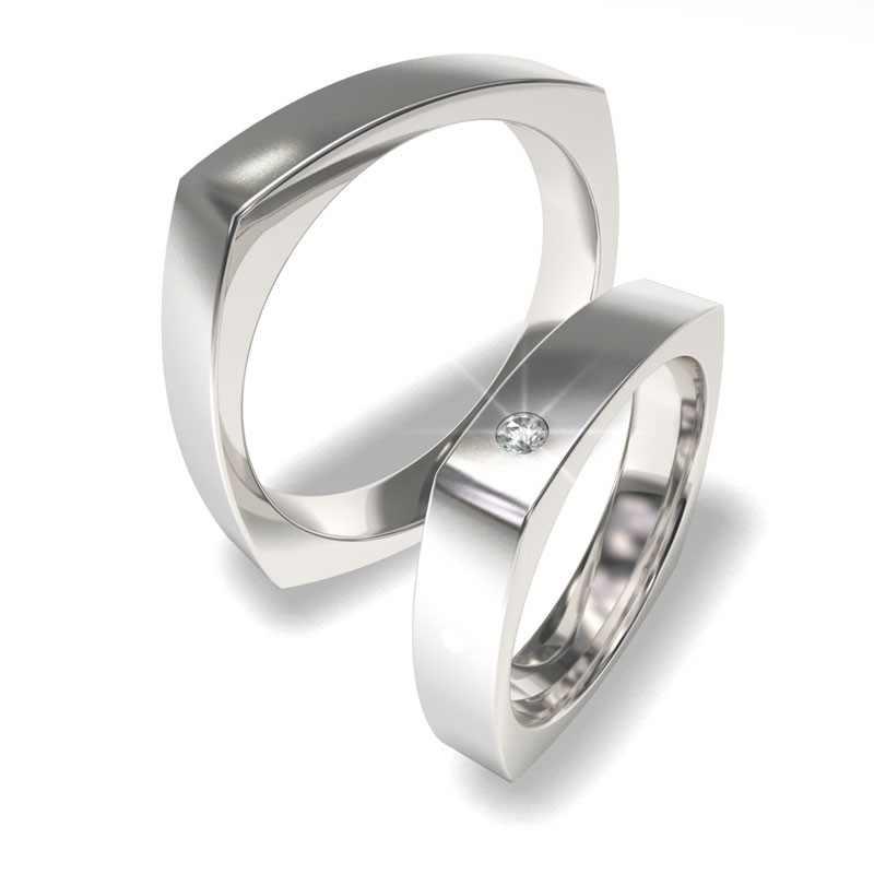Netradiční snubní prsteny s brilianty-hranaté - 7071 (Cena je za pár)