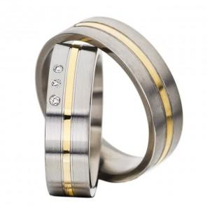 Snubní prsteny chirurgická ocel se 14ct zlatem OZ1003