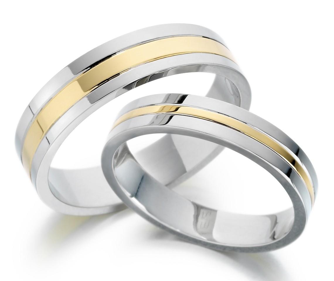 Snubní prsteny z oceli se zlatem OZ1011