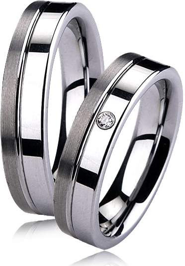 Snubní prsteny wolfram se zirkonem - pár NWF1001-Zr