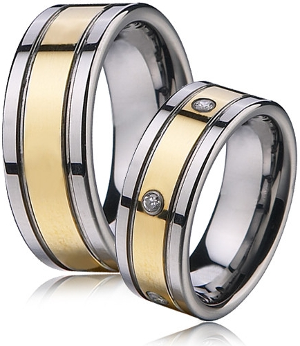 Snubní prsteny wolfram se zirkony - pár NWF1002-Zrx