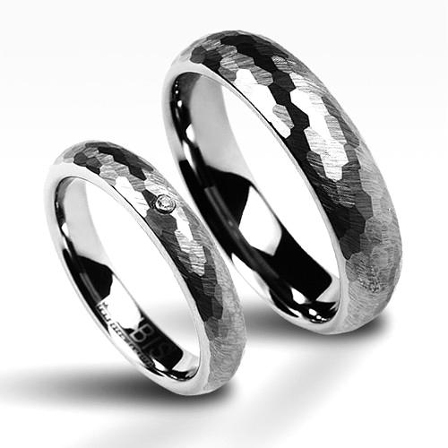Snubní prsteny wolfram se zirkonem - pár NWF1010-Zr