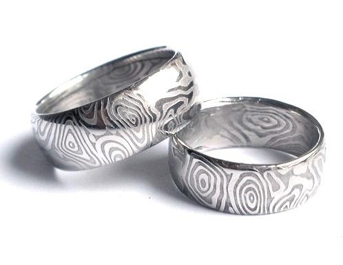 Snubní prsteny kovaná nerezová ocel damasteel DA-1017