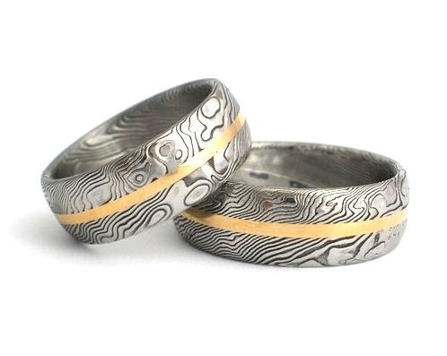 Snubní prsteny kovaná nerezová ocel damasteel DA-1018