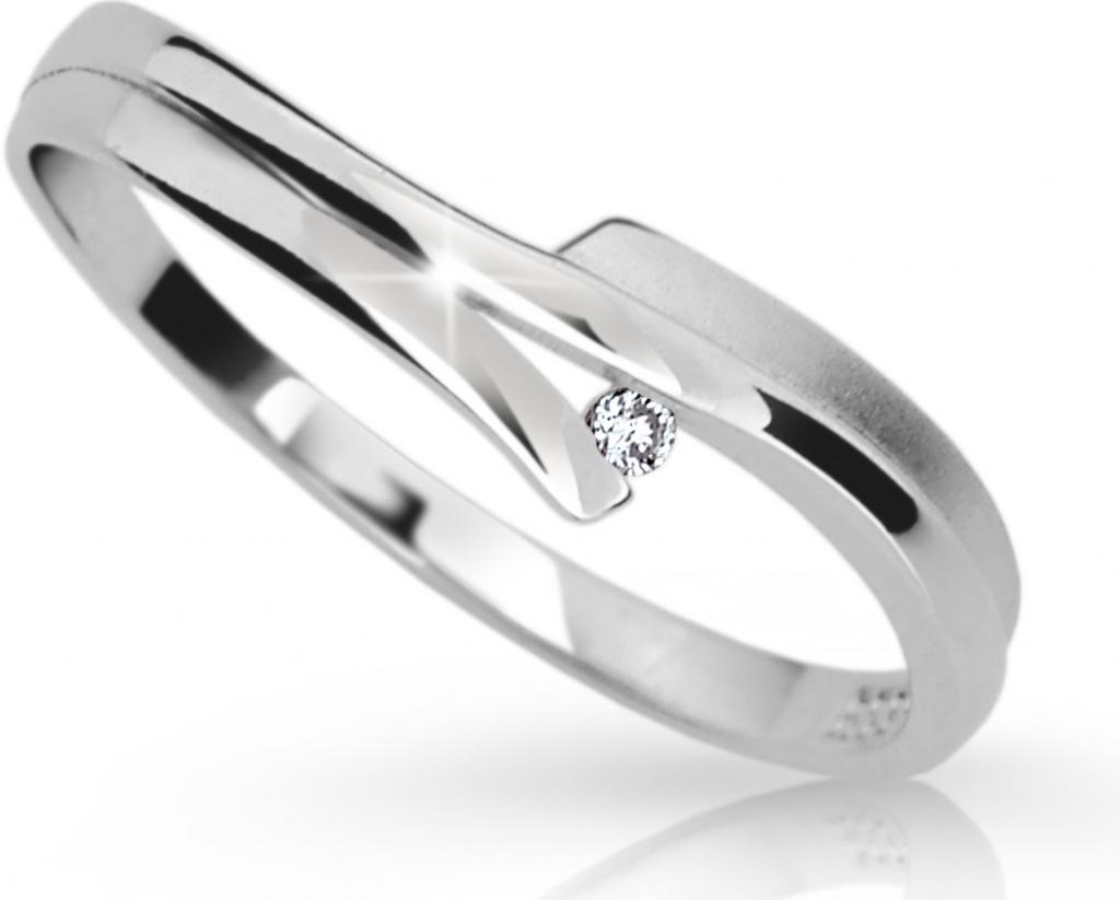Danfil Zlatý prsten DF 2000 z bílého zlata, s briliantem (Rytí zdarma)