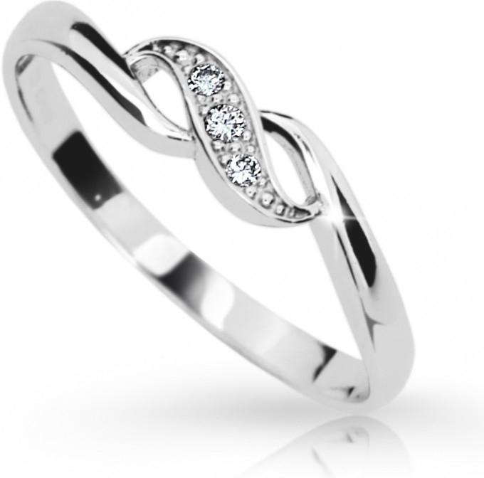 Zlatý prsten DF 2001 z bílého zlata, s briliantem (Rytí zdarma)