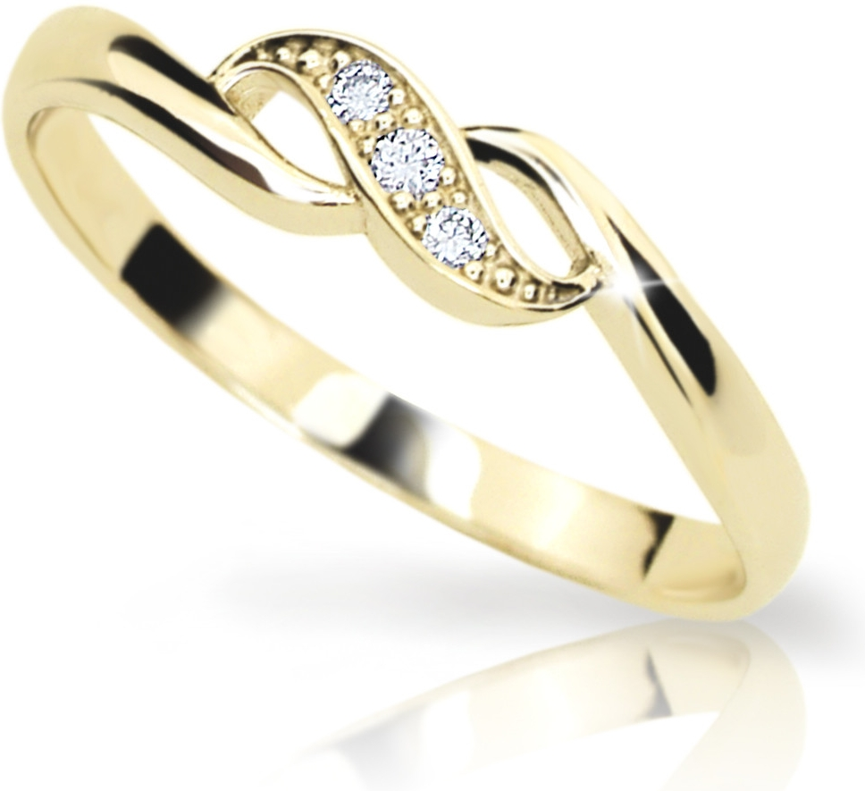 Zlatý prsten DF 2001 ze žlutého zlata, s briliantem (Rytí zdarma)