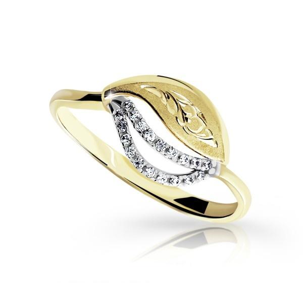 Zlatý dámský prsten DF 3115 ze žlutého zlata, s briliantem (Rytí zdarma)