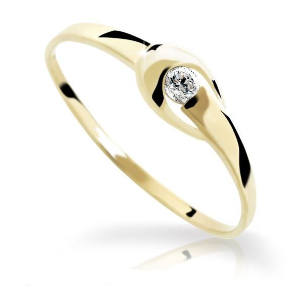 Zlatý prsten DF 1063 ze žlutého zlata (Rytí zdarma)