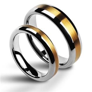 Snubní prsteny wolfram se zirkonem - pár NWF1011