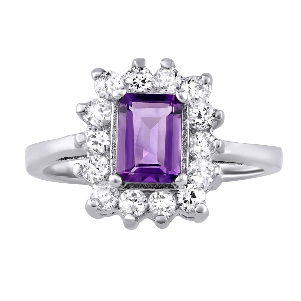 Stříbrný prsten s pravým přírodním Ametystem