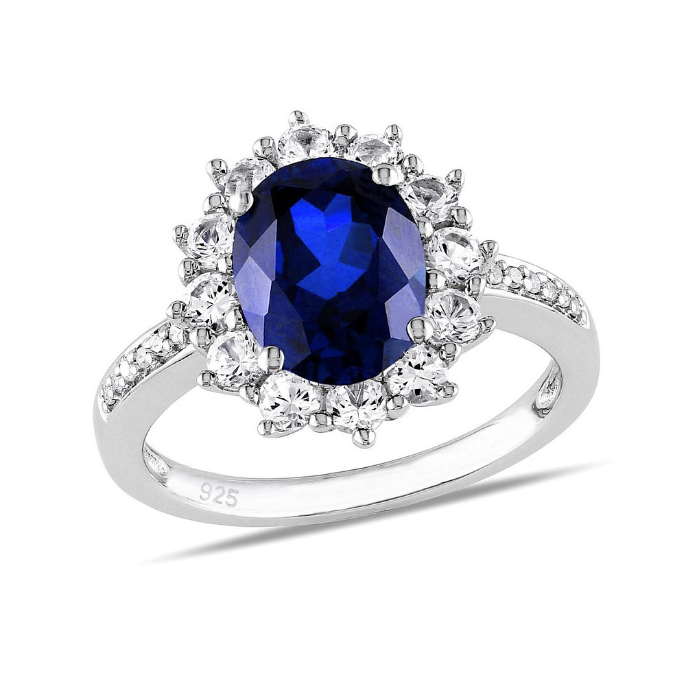 Stříbrný prsten princezny Kate se syntetickým Safírem