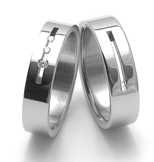 Snubní prsteny z chirurgické oceli ZERO Collection rz06010+rz86010 (Snubní prsteny ZERO Collection rz06010+rz86010)
