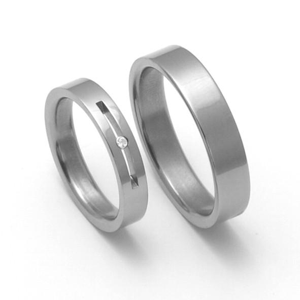 Snubní Titanové prsteny ZERO Collection TTN1101+TTN1102 (Snubní Titanové prsteny ZERO Collection TTN1100+TTN1102)