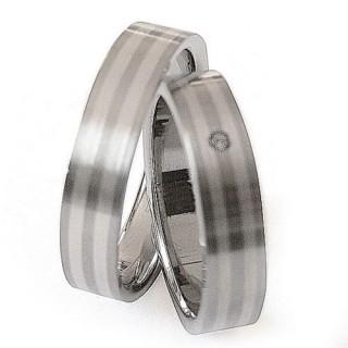 Snubní prsteny Ocel+Stříbro ZAG05800-+-ZAG05801 (Snubní prsteny Ocel+Stříbro ZAG05800-+-ZAG05801)