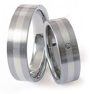 Snubní prsteny Ocel+Stříbro ZAG06100-+-ZAG06101 (Snubní prsteny Ocel+Stříbro ZAG06100-+-ZAG06101)