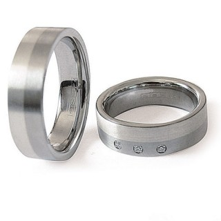 Snubní prsteny Ocel+Stříbro ZAG06300-+-ZAG06350 (Snubní prsteny Ocel+Stříbro ZAG06300-+-ZAG06350)
