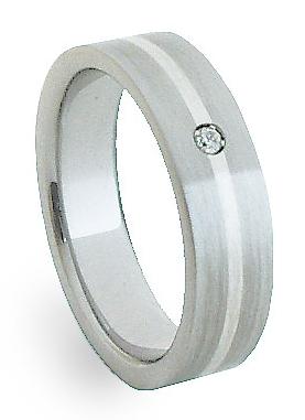 Snubní Ocelový prsten se stříbrem ZAG05401