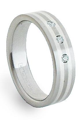Snubní Ocelový prsten se stříbrem ZAG05850
