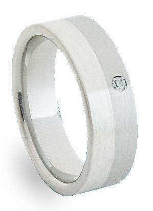 Snubní Ocelový prsten se stříbrem ZAG06302 (Ocelový prsten se stříbrem ZAG06302)