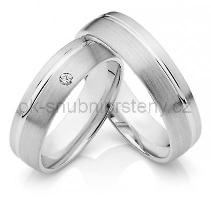 Snubní prstýnky z chirurgické oceli OC1030A (Snubní prsteny OC1030A Briliant)