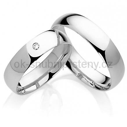 Snubní prsteny s briliantem OC1024B (Snubní prsteny 1-OC1024B)