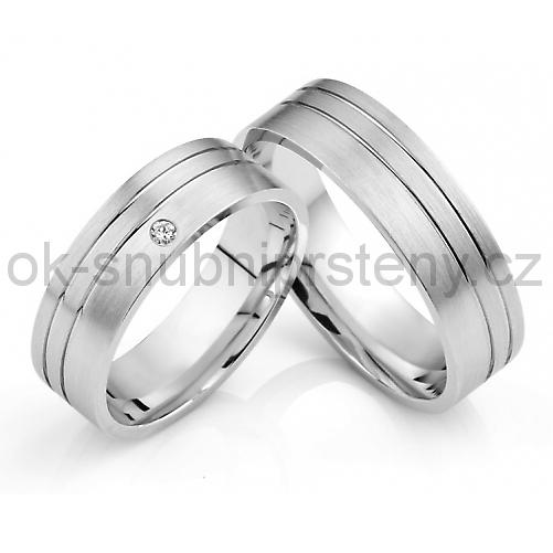 Snubní prstýnky s briliantem OC1031B (Snubní prsteny OC1031B)